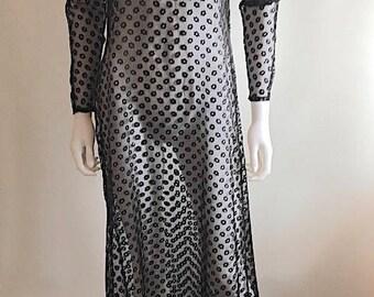 1970s Dress / Sheer /Maxi / Lace Look / M-L