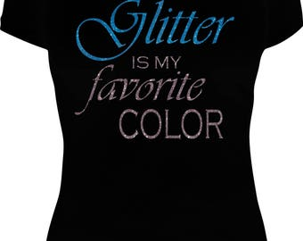 Glitter Is My Favorite Color V-Neck Tee Shirt