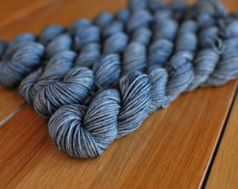 Gray, MINI SKEIN, Hand Dyed Yarn, SW Sock