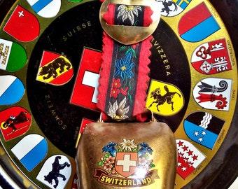Alpine Europe Souvenirs Swiss Cowbell & Cantonal Flag Coat of Arms Plate 1980's Original Vintage