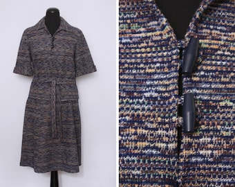 1970s Patterned 2 Piece Belted Skirt Suit with Toggles