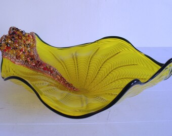 Large Embellished Yellow Glass Dish - Trinket Dish, Bowl (Reworked Bowl)