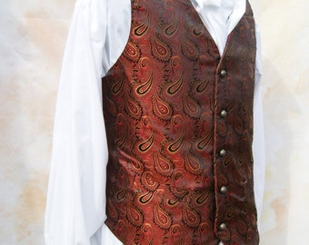 Burgundy paisley brocade single breasted Waistcoat Steampunk Chap Victorian Chest 46 inches