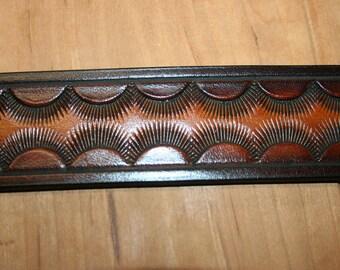 "Hand Made / Tooled Leather Belt-1.5"" Wide -Sunburst"