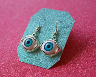 Evil Eye Earrings, Silver Eye Earrings, Blue Eye Earrings, Sterling Silver Earrings, Drop Earrings, For Her, Popular Earrings