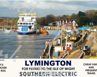 Vintage Style Railway Poster Lymington A3/A2 Print