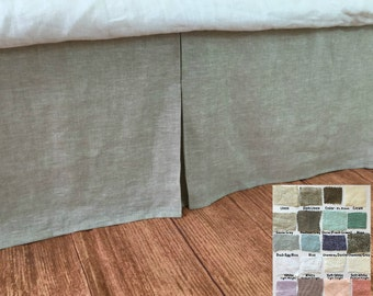 Tailored linen bedskirt, bed skirts, shabby chic bedding, linen bedskirt, over 41 colors and patterns to choose, 15-24 drop or Custom Size