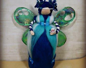 Beautiful blue, turquoise, teal, green, handmade, Waldorf inspired, fibre art, needle felted, soft sculpture, merino wool, felt fairy.