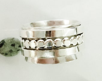 Sterling spinner ring. Meditation ring. Three spinners. Handcrafted.
