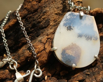 Natural dendritic quartz pendant in sterling silver prongs with aquamarine gemstone on the side with oxidized silver chain necklace/TP