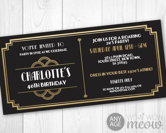 Art Deco Tickets Birthday Roaring 20s Invitation Invite 1920s