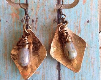 brass and Czech glass handmade earrings
