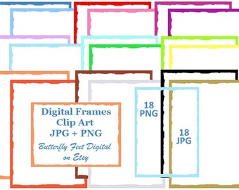 Digital Clip Art Scrapbook Frames, PNG Frames, Torn Edge Paper, Photo Overlay, 18 PNG plus 18 JPG, Instant Digital Download