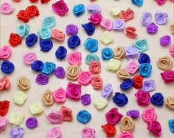 10 Ribbon Satin 15mm random color flowers