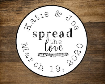 """Wedding stickers, set of 63 personalized favor labels, 1"""" round stickers, Spread the Love, mini jam favor labels, party favor stickers"""