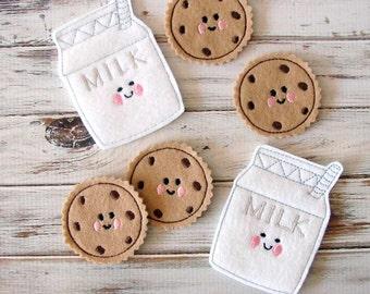 Pretend Felt Food - Cookies and Milk - Kids Play Food - Felt Cookies - Imaginary Play