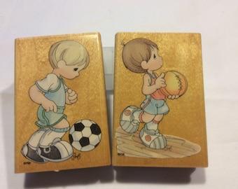 Precious Moments Soccer Boy or Basketball Boy Stamp