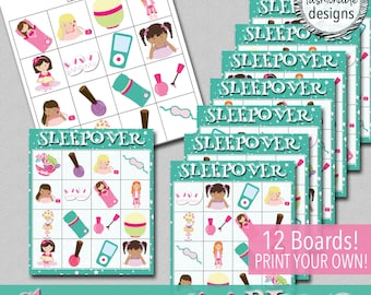 Sleepover Mini BINGO Game - Print Your Own - Instant Download!
