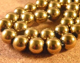 """10 """"Hématite"""" 10 mm glass beads Golden PP155"""