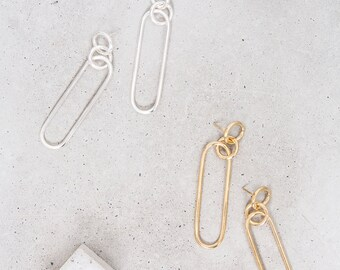 Long Link Earrings / modern minimalist sterling silver statement hoops