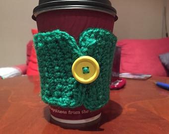 Crochet coffee cozy - green or yellow