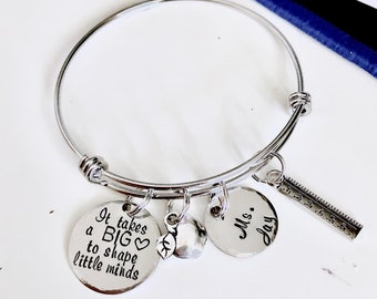 """Personalized Name """"It takes a BIG heart to shape little minds"""" STAINLESS STEEL Bangle teacher's name Bracelet gift for teacher, coach"""