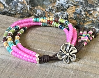 Beaded Leather Wrap Bracelet/ Gifts For Her/ Four Strand Seed Bead Leather Bracelet/ Bohemian Bracelet/ Boho Wrap Bracelet/ Pink Bracelet.