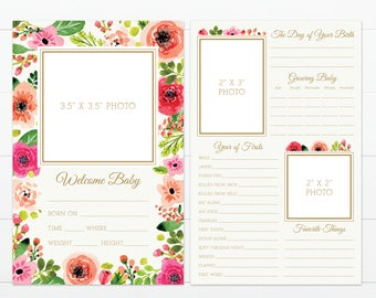 """Large Floral Blooms Theme Baby's First Year Memory """"Book"""""""