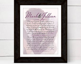 personalized 1st anniversary gift for her wife women, custom wedding vow canvas keepsake sign