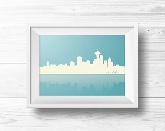 Seattle Skyline Wall Art -- Pacific Northwest, Washington State, Space Needle, Ice Blue, Light Blue and White, Printable, Instant Download