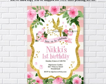 Fairy Birthday, Fairy party, gold fairy, garden party, fairy invitation, Birthday invitation, birthday, magical fairy party - card 1127