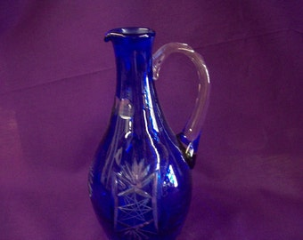 Vintage Cobalt Cut-to-Clear Glass Pitcher
