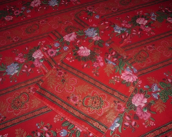 Vintage Tablecloth Napkin Set Red Floral 43 x 45 inches