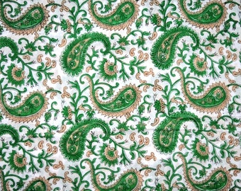1 Yard-Indian Hand Block Printed 100% Cotton Paisley Printed Fabric