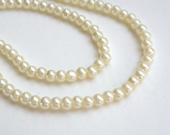 Ivory glass pearl beads round 4mm full strand 7725GB