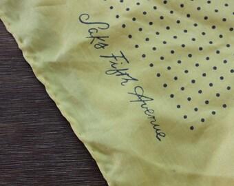 Vintage SAKS FIFTH AVENUE Yellow Polka Dot Scarf