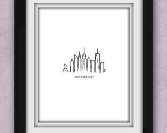 New York City Skyline Minimalist Print (Clearance)