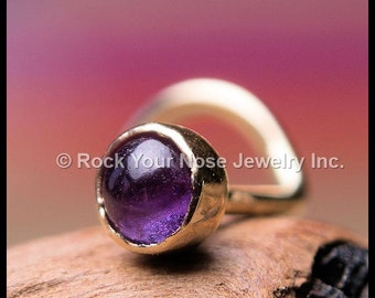 Amethyst and Gold Nose Stud - 14K Solid Yellow Gold with Natural Amethyst