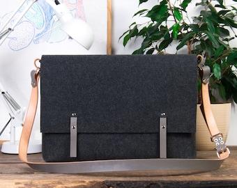 Laptop bag, Leather Messenger bag men, felt bag, leather laptop bag, fabric crossbody bag, 17 inch laptop bag, messenger bag women, gift