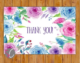 """Watercolor Roses Simple Birthday Thank You Flat Card 4""""x6"""" Digital Instant Download (551-ty)"""