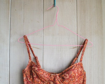Underwire Bustier Crop Top with Adjustable Straps and Removal Pads--Rust Paisley Print Polyspun/Spandex--S-M-L