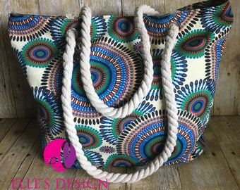 Colorful Spiral Beach Bag - Colorful Spiral Tote - Kelly Green and Black Tote - Personalized Canvas Spiral Tote - Spirals Rope Handle Tote