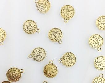 Engraved Lotus Charm,boho jewelry pendant,lotus charm,lotus flower charm, boho lotus charm,yoga charms // Gold Finish // Bracket 2 CG088