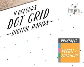 Travelers Notebook Printable Dot Grid, TN Insert, Pocket Size Bullet Journal Starter Kit, Planner Printable, Midori Refill, Cahier Size