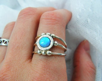 Sterling silver ring. Opal ring. Opal silver ring. spheres opal ring. Wide opal ring. Wide silver ring. Open ring. opal jewelry. opal silver