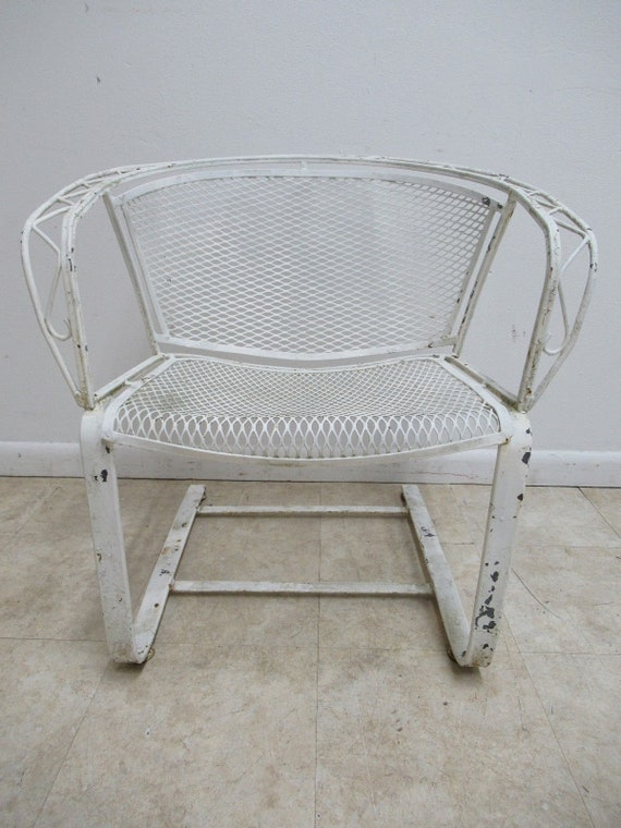 Vintage Salterini Outdoor Patio Porch Arm Lounge Spring Chair Mid Century B