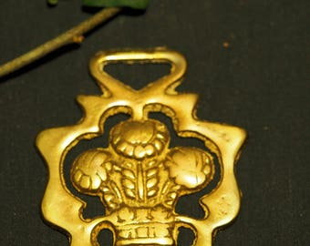 Vintage or Antique Prince of Wales Crest - Plume of Feathers Horse Brass
