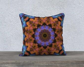 Rust Blue Black 18 x 18 Pillow Case