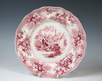 "Antique Red Staffordshire Transferware Plate  ""The Sea"" by Adams"