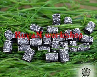Viking Runes beads. Beads for Beards or Hair Viking Rune Elder Futhark Rune pendant Rune necklace viking jewelry